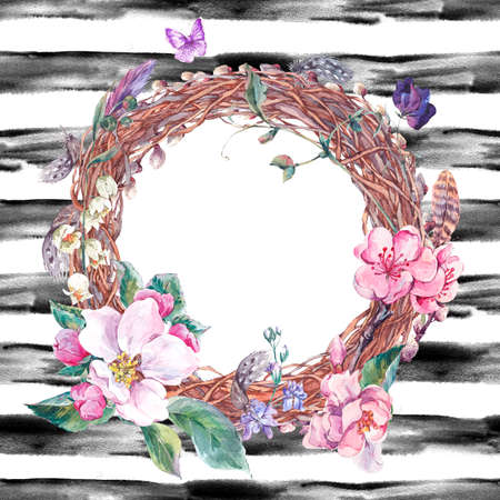 pink pussy: Watercolor spring wreath, bouquet with pussy-willow, feathers, blooming branches of peach, pear, apple and butterflies, botanical vintage watercolor illustration on striped background.