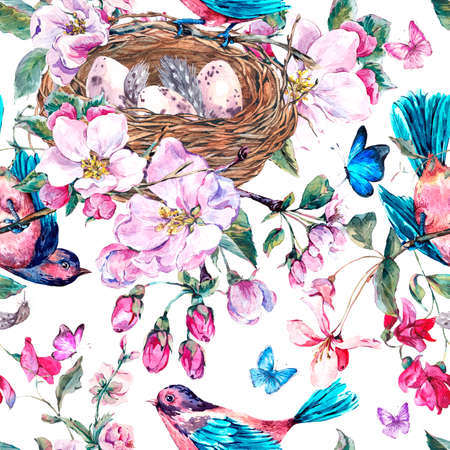 birds nest: Vintage garden watercolor spring seamless background with pink flowers blooming branches of peach, pear, apple trees, birds, nest and butterflies, isolated botanical illustration Stock Photo