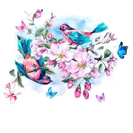 Vintage tuin aquarel lente wenskaart met roze bloemen bloeien takken van perzik, peer, appel bomen, vogels en vlinders, geïsoleerde botanische illustratie Stockfoto