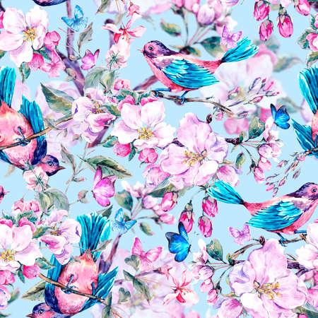 シームレスな背景ピンクに花の咲く枝の桃、梨、リンゴの木、鳥や蝶、ビンテージの庭水彩画春分離植物イラスト