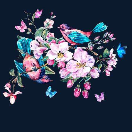 cartoline vittoriane: Vintage giardino acquerello carta di primavera auguri con fiori rosa in fiore rami di pesca, pera, alberi di mele, uccelli e farfalle, isolato illustrazione botanica