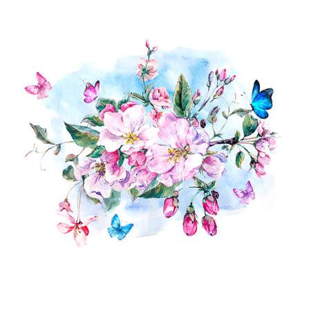 cartoline vittoriane: Vintage giardino acquerello carta di primavera auguri con fiori rosa in fiore rami di pesca, pera, alberi di mele e farfalle, isolato illustrazione botanica