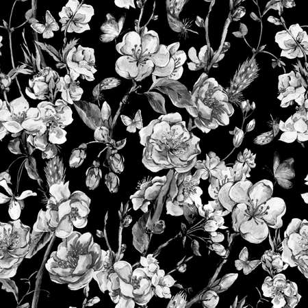 flor de sakura: monocromo fondo del jardín de la primavera sin problemas acuarela de la vendimia con las ramas en flor de melocotón, pera, manzana árboles, pájaros y mariposas, aislado Ilustración botánica