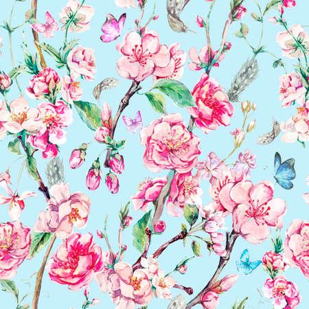 flores chinas: fondo transparente de primavera jardín de la acuarela de la vendimia con flores de color rosa en flor ramas de la cereza, melocotón, pera, sakura, manzanos y mariposas, aislado ilustración botánica Foto de archivo