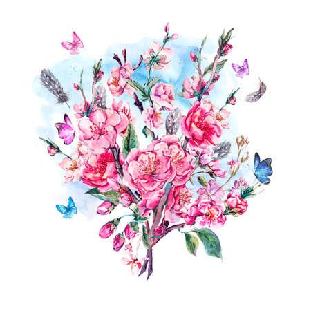 Waterverf Groet van de Lente, Vintage bloemen boeket met roze bloemen bloeiende takken van kersen, perziken, peren, sakura, appelbomen, veren en vlinders, geïsoleerde botanische illustratie Stockfoto