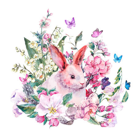 Waterverf het voorjaar wenskaart wit konijntje, bloeiende takken van perzik, peer, appel, eieren, veren en vlinders, geïsoleerde botanische vintage waterverf illustratie.