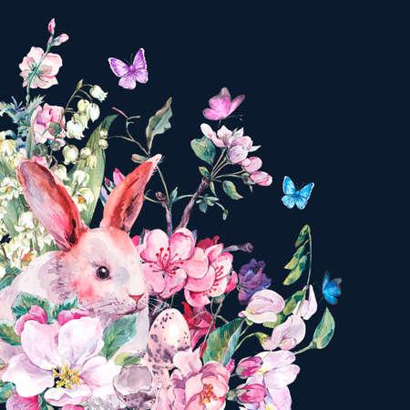 Aquarell Frühling Grußkarte Weißer Hase, Blühende Zweige Von ...