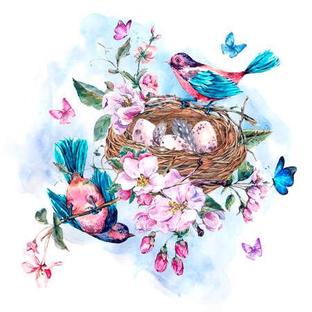 bridal: Vintage garden watercolor spring greeting card with pink flowers blooming branches of peach, pear, apple trees, birds, nest and butterflies, isolated botanical illustration Stock Photo