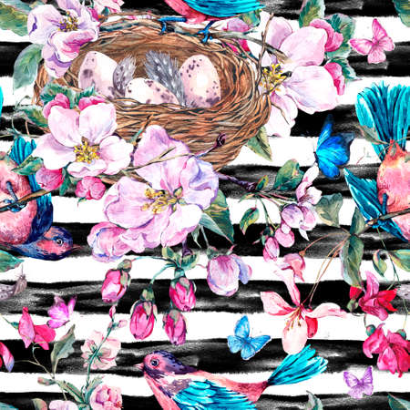 birds nest: Vintage garden watercolor spring seamless pattern with pink flowers blooming branches of peach, pear, apple trees, birds, nest and butterflies, botanical illustration on striped background