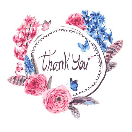 bouquet de fleurs: Carte vintage de printemps de voeux avec la floraison des fleurs bouquet jacinthes muscari papillons et plumes renoncules, botanique illustration vectorielle, merci sur fond blanc