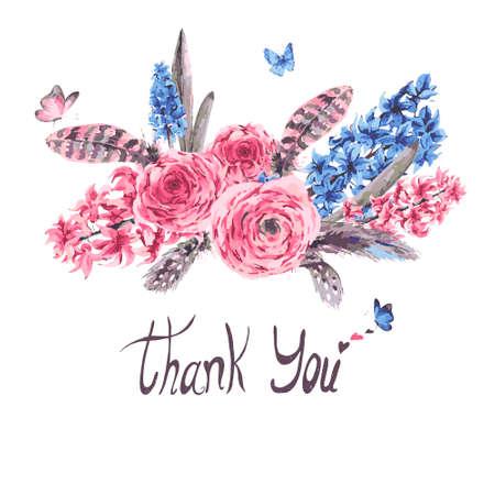 Carte vintage de printemps de voeux avec la floraison des fleurs bouquet jacinthes muscari papillons et plumes renoncules, botanique illustration vectorielle, merci sur fond blanc Vecteurs