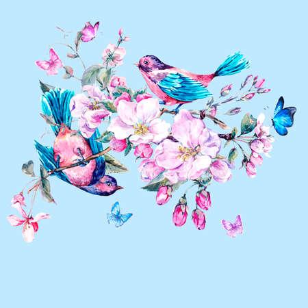 Vintage-Garten Aquarell Frühjahr Grußkarte mit rosa Blüten Zweige der Pfirsich blühen, Birne, Apfel Bäume, Vögel und Schmetterlinge, isoliert botanische Illustration