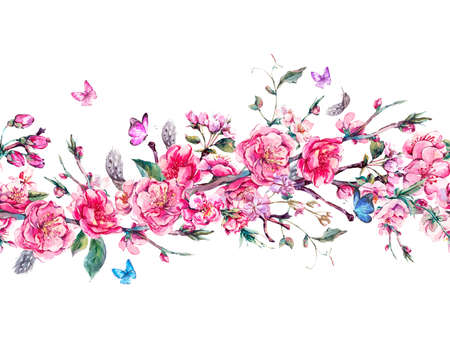 Vintage horizontal garden watercolor spring seamless border with pink flowers blooming branches of cherry, peach, pear, sakura, apple trees and butterflies, isolated botanical illustration Stockfoto