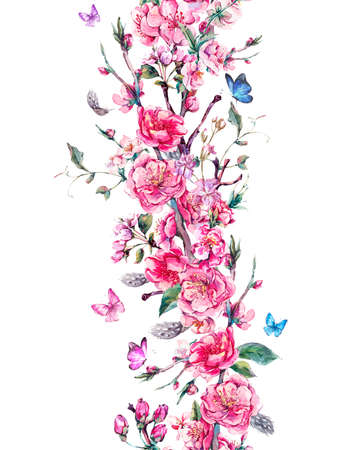 fleur cerisier: Vintage vertical printemps jardin aquarelle frontière transparente avec des fleurs roses en fleurs branches de cerise, pêche, poire, sakura, pommiers et papillons, isolé illustration botanique Banque d'images