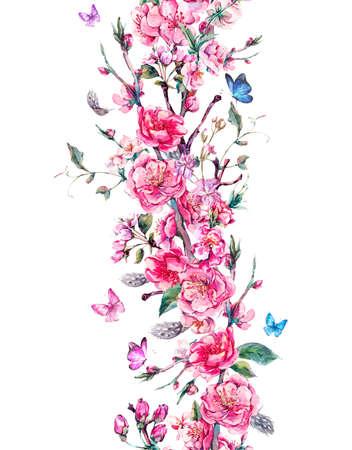 Vintage verticale tuin aquarel voorjaar naadloze grens met roze bloemen bloeien takken van kersen, perziken, peren, sakura, appelbomen en vlinders, geïsoleerde botanische illustratie Stockfoto