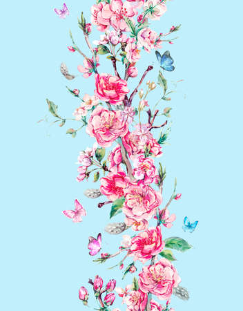 wallpaper floral: Vintage vertical garden watercolor spring seamless border with pink flowers blooming branches of cherry, peach, pear, sakura, apple trees and butterflies, isolated botanical illustration Stock Photo