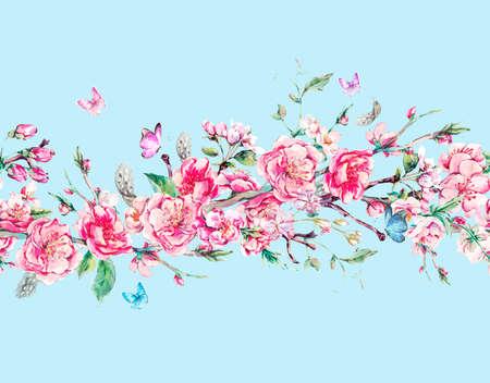 la frontera sin problemas horizontales de primavera jardín de la acuarela de la vendimia con flores de color rosa en flor ramas de la cereza, melocotón, pera, sakura, manzanos y mariposas, aislado ilustración botánica