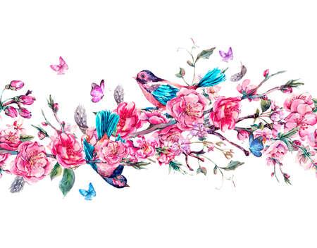 Vintage confine senza soluzione di continuità orizzontale giardino di primavera con gli uccelli acquerello rosa fiori di fioritura rami di ciliegio, pesca, pera, Sakura, alberi di mele e farfalle, isolato illustrazione botanica