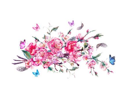 Waterverf Groet van de Lente, Vintage bloemen boeket met roze bloeiende takken van kersen, perziken, peren, sakura, appelbomen, veren en vlinders, geïsoleerde botanische illustratie