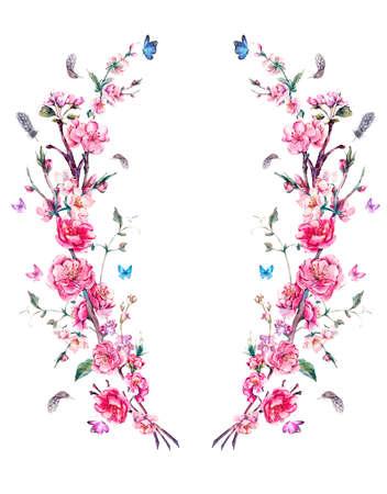 hintergrund: Aquarell Frühlings-Gruß-Karte, Vintage-Kranz aus Blumen Bouquet mit rosa blühenden Zweigen der Kirsche, Pfirsich, Birne, Sakura, Apfelbäume, Federn und Schmetterlinge