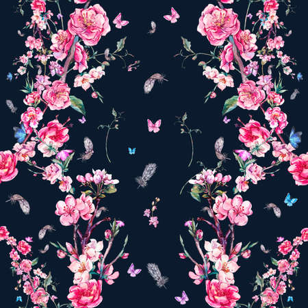 flower border: Vintage garden watercolor spring seamless background with pink flowers blooming branches of cherry, peach, pear, sakura, apple trees and butterflies, isolated botanical illustration