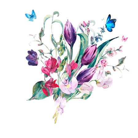 부드러운 꽃 빈티지 수채화 인사말 카드 달콤한 완두콩, 튤립과 나비, 격리 된 식물 그림 스톡 콘텐츠