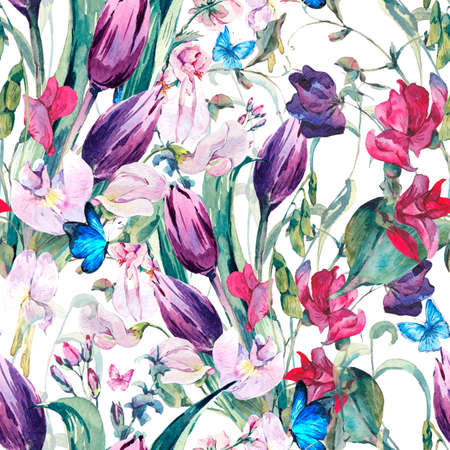 sweet background: Gentle Floral Vintage Watercolor Seamless Background with Sweet Peas, Tulips and Butterflies, botanical illustration Stock Photo