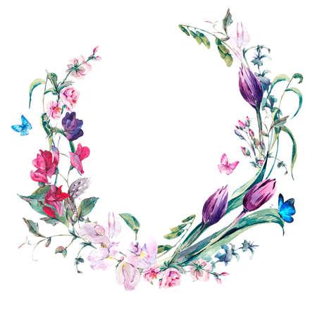 Acuarela tarjeta de felicitación de la primavera, corona de la vendimia del ramo de las flores con los guisantes de olor, tulipanes y mariposas Foto de archivo - 53683338