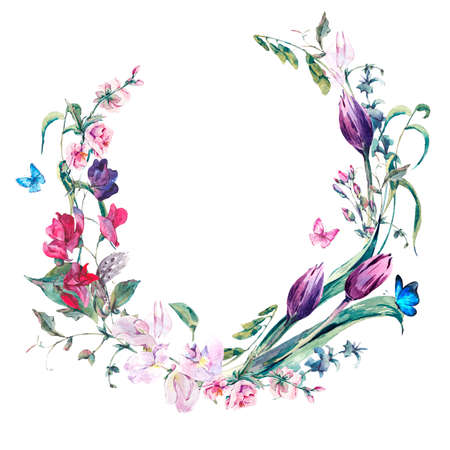 celebration: Akwarela Wiosna Greeting Card, Vintage wieniec kwiatów bukiet z groszkiem cukrowym, tulipanów i motyli
