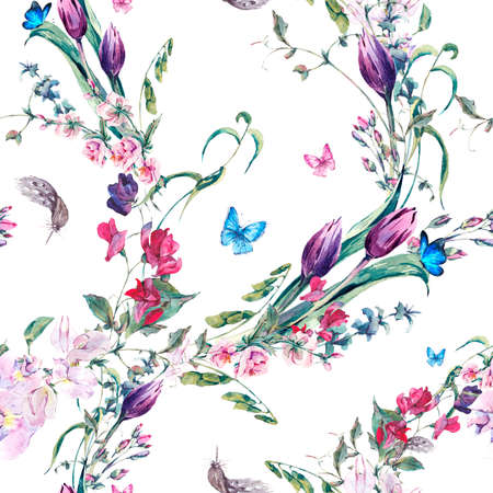 Gentle Floral Vintage Watercolor Seamless Background with Sweet Peas, Tulips and Butterflies, botanical illustration Stock Photo