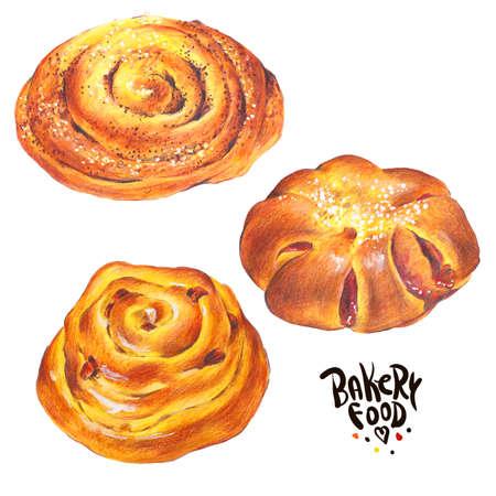 sweet bun: Hand drawn baking set isolated on a white background, sweet bun with apple jam, curd cream, plum-cake, poppy seeds, raisins, Retro pencil food illustration