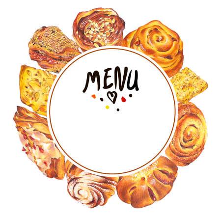 sweet bun: Hand drawn baking round frame isolated on a white background, sweet bun with apple jam, curd cream, plum-cake, poppy seeds, raisins, Retro pencil food illustration Stock Photo