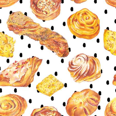sweet bun: Hand drawn baking seamless pattern, sweet bun with apple jam, curd cream, plum-cake, poppy seeds, raisins, Retro pencil food illustration on polka dot background