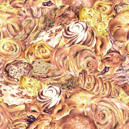 sweet bun: Hand drawn baking seamless background, sweet bun with apple jam, curd cream, plum-cake, poppy seeds, raisins, Retro pencil food illustration