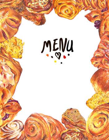 sweet bun: Hand drawn baking card menu isolated on a white background, sweet bun with apple jam, curd cream, plum-cake, poppy seeds, raisins, Retro pencil food illustration