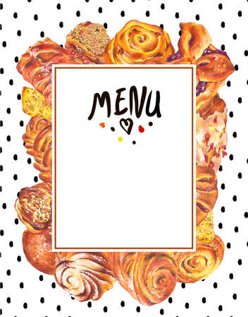 raisin: Hand drawn baking card menu, sweet bun with apple jam, curd cream, plum-cake, poppy seeds, raisins, Retro pencil food illustration on polka dot background Stock Photo