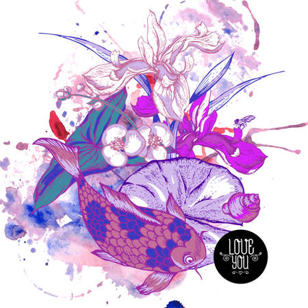 koi fish pond: Abstract pond water flowers vector greeting card, Purple botanical shabby chic illustration iris, lily, carp, snail, fly leaves and twigs Floral design elements. Illustration