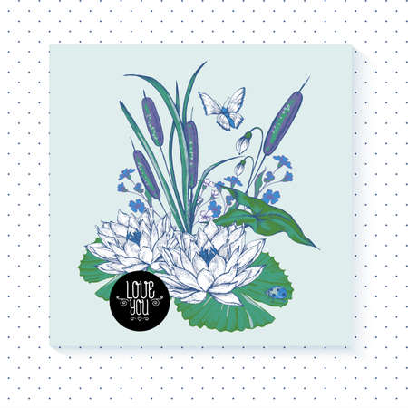 spring flower: Vintage pond water flowers vector greeting card, Botanical shabby chic illustration reeds, butterfly, lily, ladybird wildflowers leaves and twigs Floral design elements.
