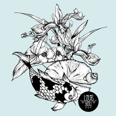 pond water: Vintage monochrome pond water flowers vector greeting card, Botanical shabby chic illustration iris, lily, carp, snail leaves and twigs Floral design elements. Illustration