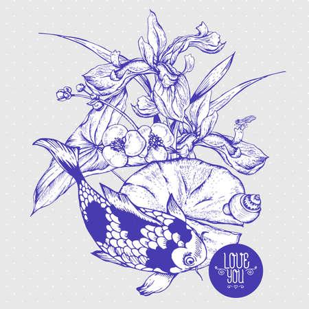 Vintage monocromatico stagno biglietto di auguri fiori d'acqua vettore, botanico shabby chic iris illustrazione, giglio, la carpa, foglie e ramoscelli lumaca elementi di disegno floreale.