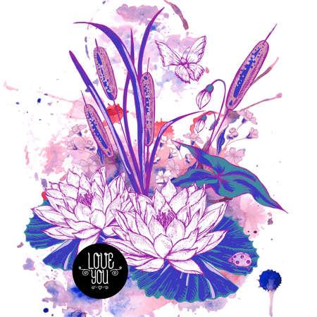 Resumen de la tarjeta estanque de flores de agua vector de saludo, púrpura botánicos elegancia lamentable ilustración cañas, mariposa, lirio, flores silvestres hojas y ramitas mariquita elementos de diseño floral. Ilustración de vector