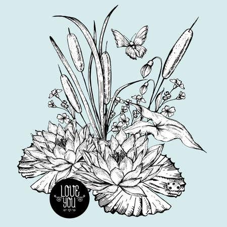 canne: Vintage monocromatico stagno biglietto di auguri fiori d'acqua vettore, botanico shabby chic canne illustrazione, farfalla, giglio, fiori di campo coccinella foglie e rametti elementi di design floreale.