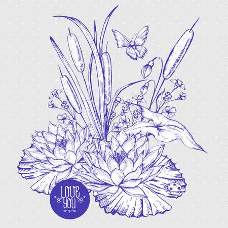 estanque en blanco y negro tarjeta de felicitación de las flores de agua vector de la vendimia, botánico cañas lamentable ejemplo elegante, mariposa, lirio, flores silvestres mariquita hojas y ramitas elementos de diseño floral.