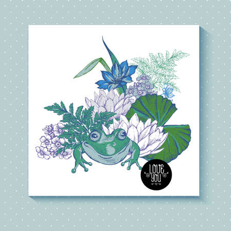 water lilly: Vintage pond water flowers vector greeting card, Botanical shabby chic illustration iris, lily, frog, wildflowers leaves and twigs Floral design elements. Illustration