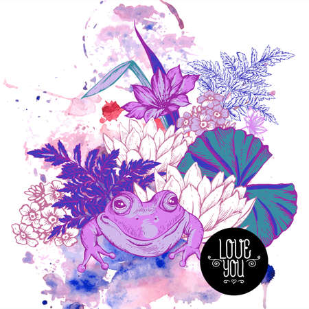 pond water: Abstract pond water flowers vector greeting card, Purple botanical shabby chic illustration iris, lily, frog, wildflowers leaves and twigs Floral design elements.