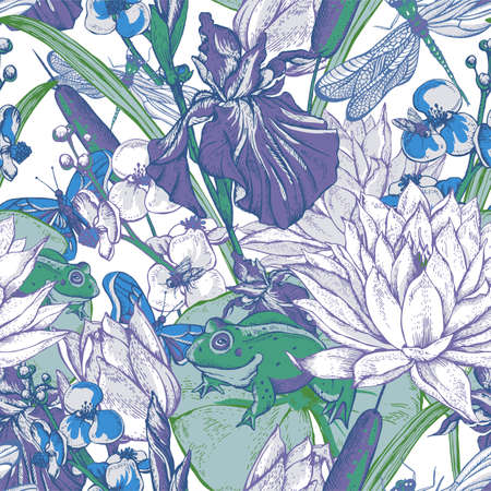 pond water: Vintage pond water flowers vector seamless pattern, Botanical shabby chic illustration iris, lily, frog, reeds, butterfly wildflowers dragonfly leaves and twigs Illustration