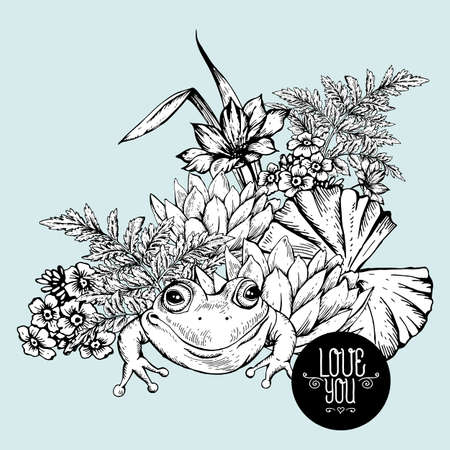 pond water: Vintage monochrome pond water flowers vector greeting card, Botanical shabby chic illustration iris, lily, frog, wildflowers leaves and twigs Floral design elements. Illustration