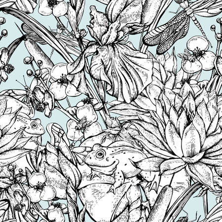 pond water: Vintage monochrome pond water flowers vector seamless pattern, Botanical shabby chic illustration iris, lily, frog, reeds, butterfly wildflowers dragonfly leaves and twigs Illustration