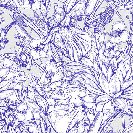 white lilly: Vintage monochrome pond water flowers vector seamless pattern, Botanical shabby chic illustration iris, lily, frog, reeds, butterfly wildflowers dragonfly leaves and twigs Illustration