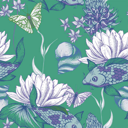 pond water: Vintage pond water flowers vector seamless pattern, Botanical shabby chic illustration lily, carp, snail leaves and twigs Floral design elements. Illustration